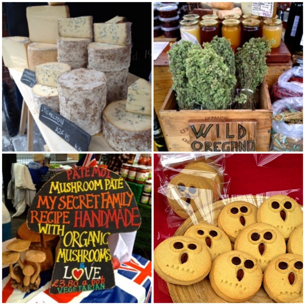 Cheese, Mushroom Pate, Herbs and Bakes at Borough Market, London